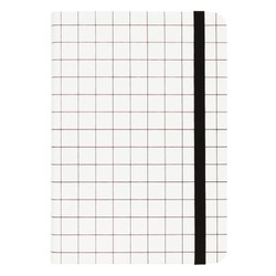 A5 BONDED LEATHER JOURNAL WHITE/BLACK: ESSENTIALS (OUTLET)