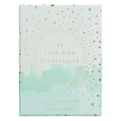 QUOTE CARDS WITH WOODEN STANDPALE TEAL: SHE SHINES (OUTLET)