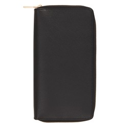 LEATHER CONTINENTAL WALLET WITH ZIP JET BLACK: SIGNATURE EDITION
