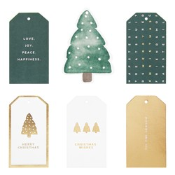 GIFT TAGS 10PK MINIMAL FOREST GREEN: CHRISTMAS (OUTLET)