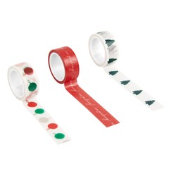 PRINTED PAPER TAPE 3PK MULTI: CHRISTMAS
