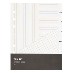 B6 PLANNER REFILL TAB SET WHITE/GOLD: ESSENTIALS