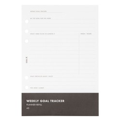 A5 PLANNER REFILL WEEKLY GOAL TRACKER WHITE: OWN YOUR DAYS