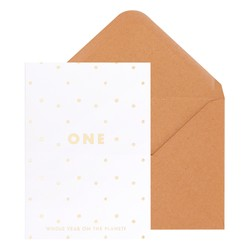A6 GREETING CARD BIRTHDAY ONE WHITE/GOLD: GREETING CARDS