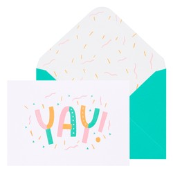 A6 GREETING CARD YAY! WHITE: GREETING CARDS