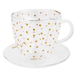 GLASS HEART-SHAPED CUP WITH SAUCER GOLD: CHOOSE LOVE