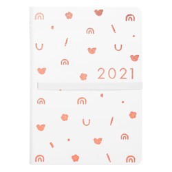 2021 A5 BONDED WEEKLY DIARY WHITE/ROSE GOLD KIKKI.K X MALALA FUND
