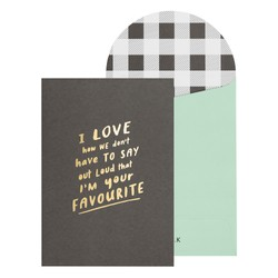 A6 GREETING CARD FAVOURITE CHARCOAL BLACK: FATHER'S DAY