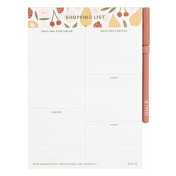A5 CATEGORISED SHOPPING LIST WHITE: LIVING WELL