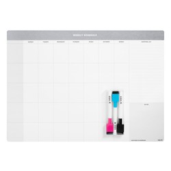 A3 MAGNETIC WHITEBOARD WEEKLY SCHEDULE WHITE/GREY: LIVING WELL