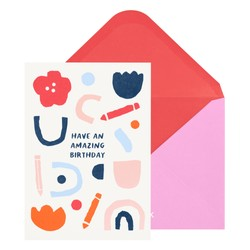 A6 GREETING CARD AMAZING BIRTHDAY PALE PEACH: MALALA FUND COLLABORATION
