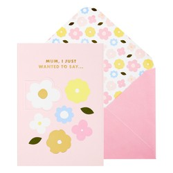 A6 GREETING CARD JUST WANT TO SAY: FLORAL BALLET PINK