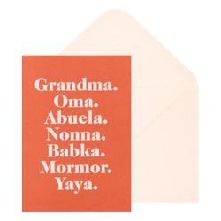 A6 GREETING CARD GRANDMA OMA ABUELA BLOOD ORANGE: FLORAL BALLET PINK