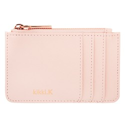 LEATHER CARD HOLDER ZIP POUCH BLUSH: SIGNATURE EDITION