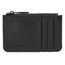 LEATHER CARD HOLDER ZIP POUCH BLACK: SIGNATURE EDITION