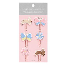 EMBROIDERED PAPER CLIPS 6PK MULTI: SLOW