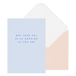 A6 GREETING CARD AMAZING AS YOU ARE LIGHT BLUE : GREETING CARDS