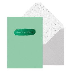 A6 GREETING CARD MAKE A WISH GREEN : GREETING CARDS (OUTLET)